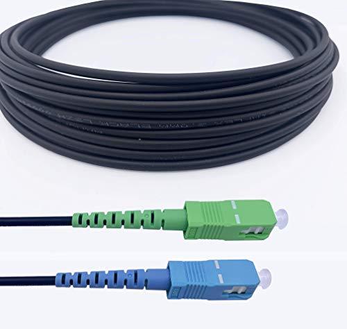 Elfcam Glasvezelkabel van afgeschermd staal compatibel met Freebox geschikt voor binnen en buiteninstallaties SCAPC op SCUPC Monomode zwart 7 m