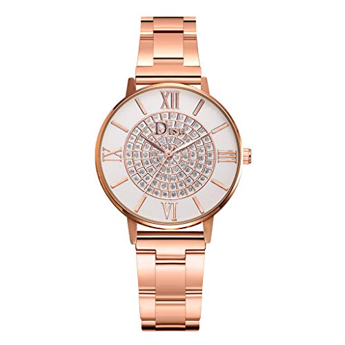 HunYUN Women's Analog Watch with Gold-Tone Case, Crystal-Inset Bezel, Fold-Over Clasp Fashion Luxury Temperament Diamond Set Dial Alloy Strap Ladies Quartz Watch ()