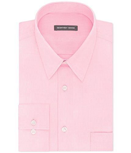 Geoffrey Beene Men's Classic-Fit Wrinkle Free Bedford Cord Dress Shirt (Light Pink, (Bedford Five Light)