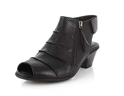 Earth Women's Hydra Mid Heel Sandal,Black Soft Leather,US 5 M