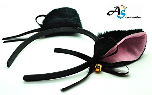 Woman Cat Ear Headband, Black -