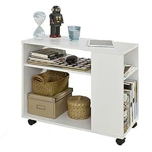 Sobuy fbt34 w es mesa auxiliar con 2 estantes consola - Amazon mesa auxiliar cocina ...