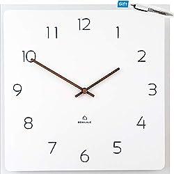Rema House Modern Square Wall Clock Silent &Non-Ticking Quartz Eco Wooden 11.4 Clock White