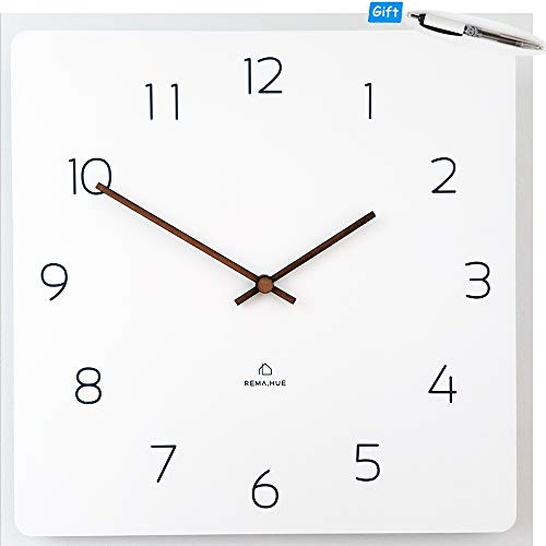 Rema House Modern Square Wall Clock Silent &Non-Ticking Quartz Eco Wooden 11.4