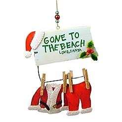 Beach Themed Christmas Ornaments Cape Shore Santa Gone to The Beach Clothesline Coastal Christmas Ornament beach themed christmas ornaments