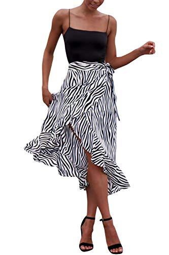 Women's Sexy England Leopard Print Split Bandage Evening Party Skirt Midi Skirt (Stripe, S)