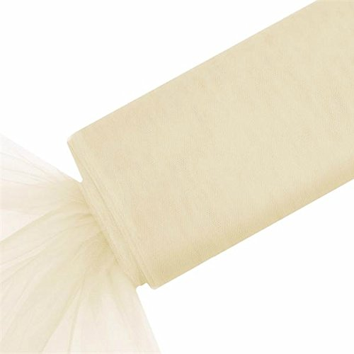 BalsaCircle 54-Inch x 120 feet Ivory Large Net Tulle Fabric by The Bolt - Wedding Party Decorations Sewing DIY Crafts -