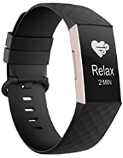 Adepoy Compatible with Fitbit Charge 3 Bands, Soft Silicone Replacement Wristbands for Fitbit Charge 3 / Charge 4 and Fitbit Charge 3 SE, Women Men Large Small