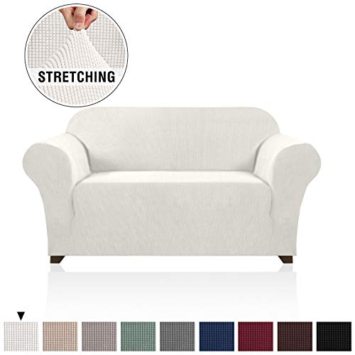 1 Piece Stretch Stylish Furniture Loveseat Cover for Living Room Spandex Knitted Jacquard Fabric with Small Checks Soft Textured Couch Cover Machine Washable (Loveseat, 2 Seat, Ivory White) (Love Cover Couch Seat White)