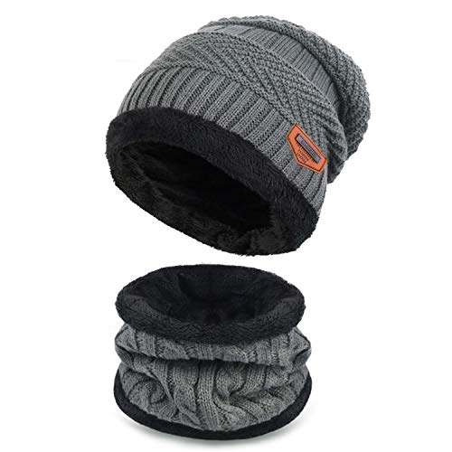 Maylisacc Winter Knitted Beanie Hat and Neck Warmer Scarf Set 2 Pcs for Kids Boy Girl - Grey