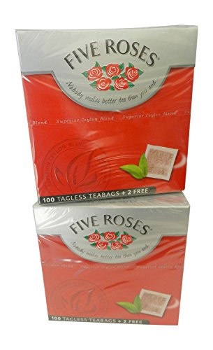 Five Roses Tea, 100 Tagless Teabags (2 Box of 100 Teabags) by Five Roses