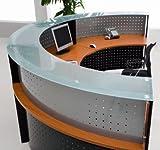 Half Round Glass Top Reception Desk - Cherry