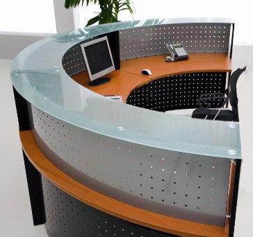 Half Round Glass Top Reception Desk - Cherry by MOD