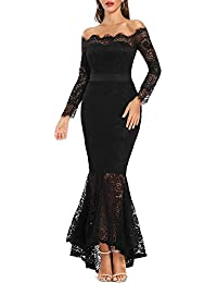 Women's Floral Lace Long Sleeve Off Shoulder Wedding Mermaid Dress