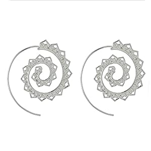 Steam punk Round Swirl Hoop Earring for Women Gold Silver Tone Big Circle Earrings Party Ethnic