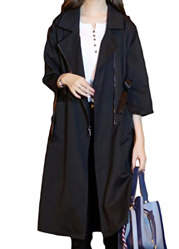 Coolred Women's Solid Color Tunic 3/4 Sleeve Mid Long Trench Coat Jacket Black L (Length 3/4 Sleeve Mid Coat)