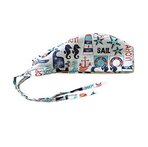 Unisex Mens Tie Back Scrub Cap Surgical Cap Nautical