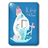 3dRose Uta Naumann Sayings and Typography - Cute Teal Watercolor Animal Illustration - Bunny - Always Teatime - Light Switch Covers - single toggle switch (lsp_289940_1)