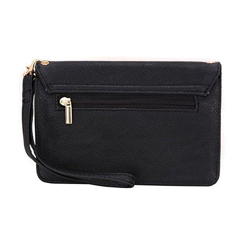 Conze Mujer embrague cartera todo bolsa con correas de hombro compatible con Smart teléfono para Celkon A518/redondo//A402A407 negro negro negro