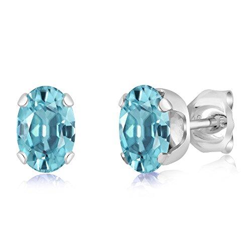 1.50 Ct Oval 6x4mm Blue Zircon 925 Sterling Silver Stud - Zircon Earrings
