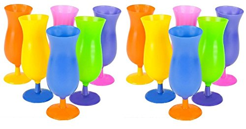 12 Hurricane Tumblers Party Cup Glasses Luau - Tropical Drink Cups