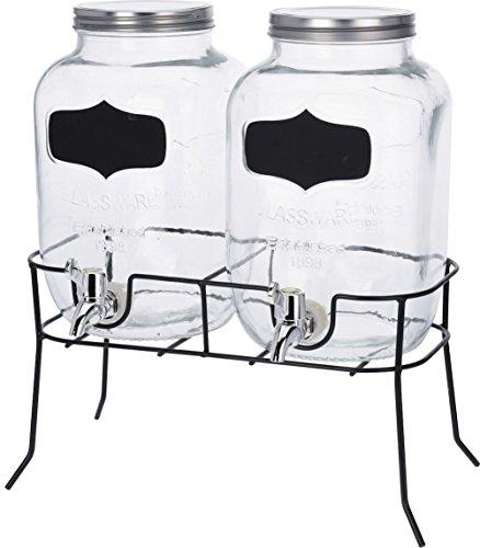 Drankdispenser set – 2 x 4 l glas met tapkraan en frame – sapdispenser dispenser waterdispenser