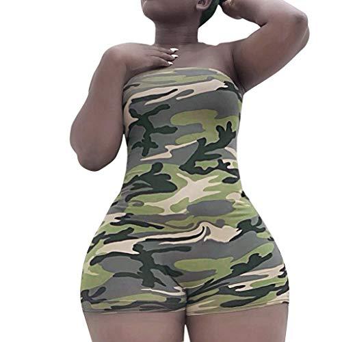 - Alangbudu Women Camouflage Short Romper Off Shoulder Bandeau Elastic High Waist Bodycon Jumpsuit Club Playsuit Jumper