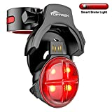 TOPTREK Bike Tail Light Smart Sensing Bicycle Rear Brake Light Wireless USB Rechargeable Tail Light with 5 Lighting Modes Waterproof LED Safety Light Fits Road/Mountain Bike (Black)