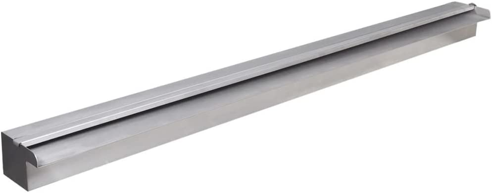 vidaXL Fuente Rectangular con Leds para Piscina Acero Inoxidable 120 cm Estanque