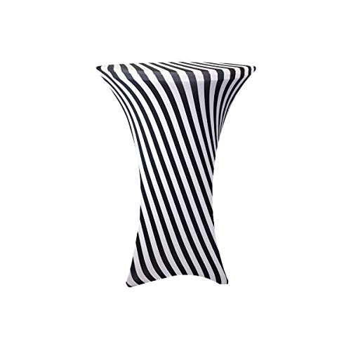 Your Chair Covers - 30 inch Cocktail Round Stretch Spandex Table Cover - Black White Striped, Stretch Tablecloth