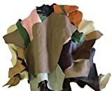 5 Pounds Upholstery Cow Hide Scrap Leather Pieces, Mixed Color, Size and Weight