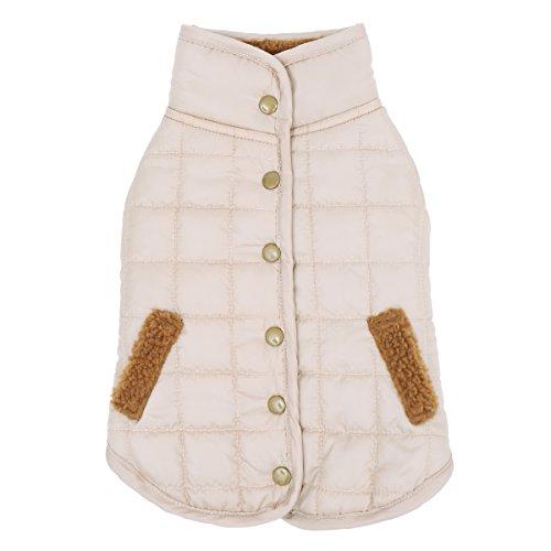 Speedy Pet Reversible Dog Clothes Winter Warm Comfortable Fleece Costumes Jacket Pet Coat Beige S -