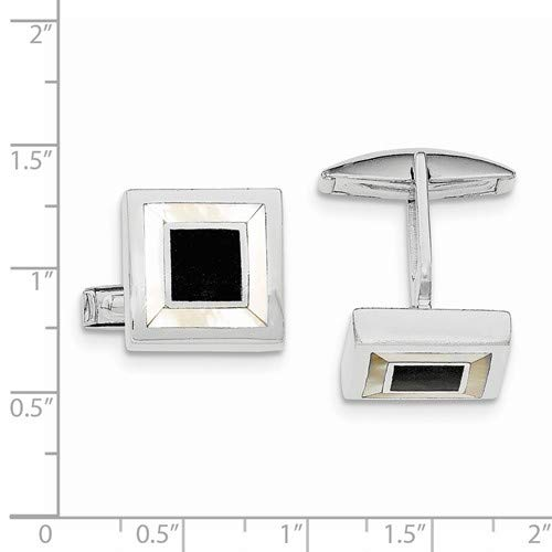Brilliant Bijou Solid .925 Sterling Silver Rhodium-Plated Mother of Pearl /& Enamel Cuff Links