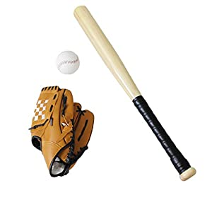 TOYSHARING Baseball Bat Set Anti Skid Wooden Baseball Bat and Glove Durable Baseball Set Safety Sports Toy Gift with…