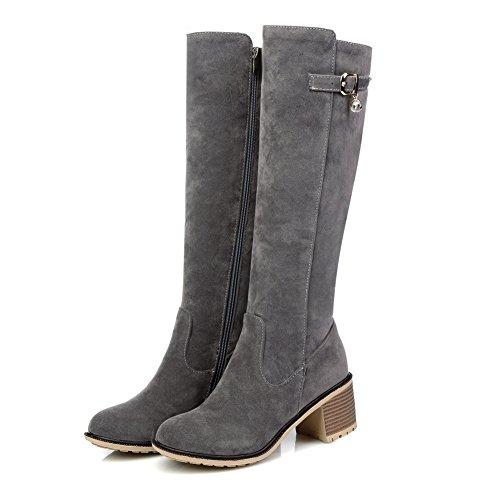 Calf Round Toe Heel Lucksender Mid Boots Chunky Grey Womens Zip qawFt0E