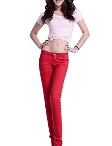 Mujer Pantalones Vaqueros Elástico Runyue Skinny Push Ocio Delgado Alta Estilo Rojo Up Jeans Cintura Lápiz Flaco zFgqdn4gw