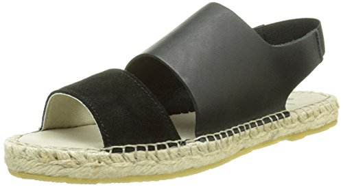 PIECES Psjade Leather Espadrillos Sandal Blk - Alpargatas Mujer Negro - negro