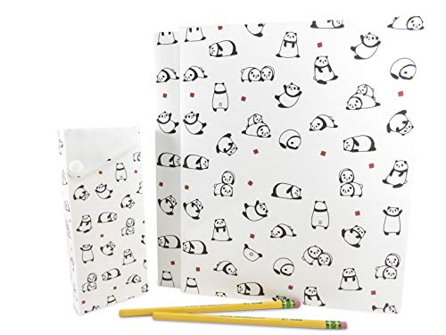 Cute 2-Pocket Panda Plastic Glossy Folder with Pencil Pen Case and 2 Yellow Unsharpened Pencils (5 Piece Set) by Mixed