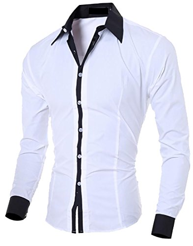 Fulok Mens Slim-Fit Square Collar Long-Sleeve Solid Button Up Shirt White S