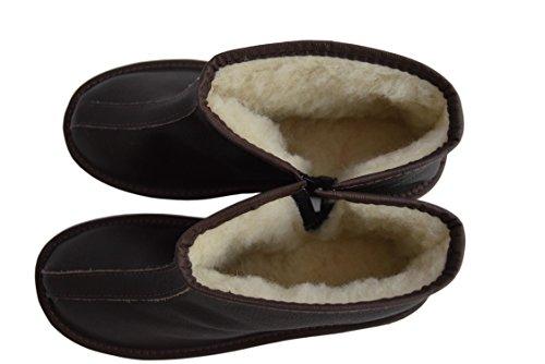Marrón leather Mujer Brown Slipers De Natleat Botas Piel Para wYSqx4Hg