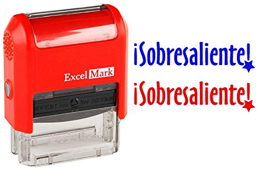 SOBRESALIENTE - ExcelMark Self-Inking Two-Color Rubber Spanish Teacher Stamp - Perfect for Grading Homework - Red and Blue Ink