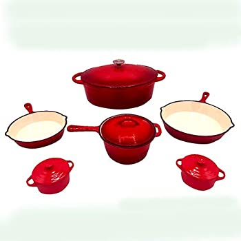 Le Chef 10-Piece Enameled Cast Iron Cherry Cookware Set.