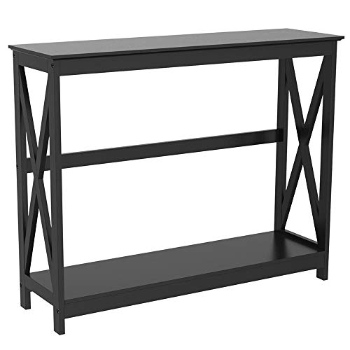 Topeakmart 2-Tier X-Design Occasional Console Sofa Entry Hall Table with Storage Shelf, Black