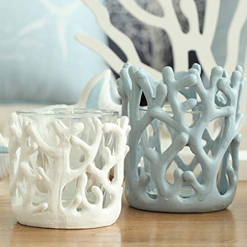 WHXYAA Environmentally Friendly Resin Coral Crafts Living Room Decoration Whale Bay Coral Candlestick Cup (Color : White)