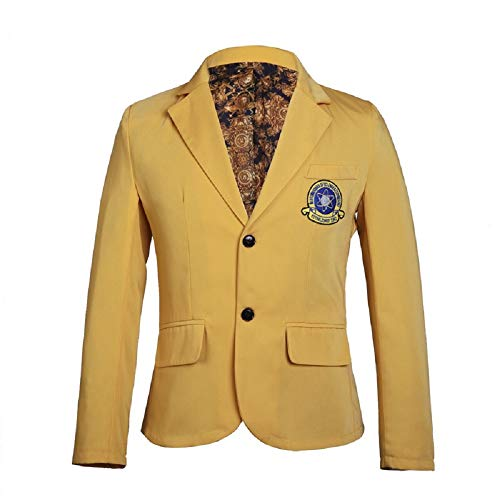 Superhero Jacket Classic Yellow Coat Mens Halloween Cosplay School Uniform Costume XL]()