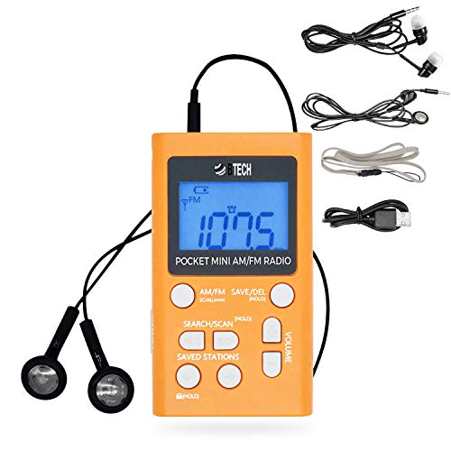 BTECH MPR-AF1 AM FM Personal Radio with Two Types of Stereo Headphones, Clock, Great Reception and Long Battery Life, Mini Pocket Walkman Radio with Headphones (Orange)