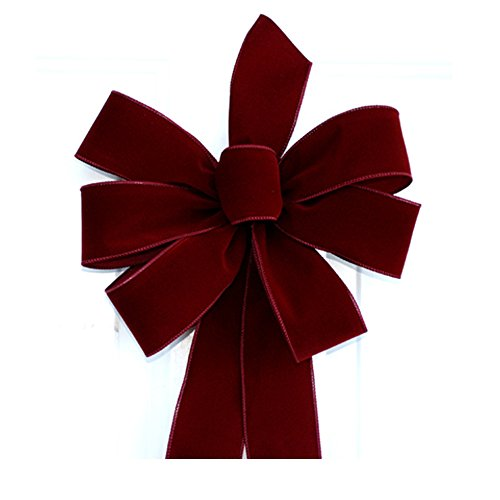 Wired Burgundy Handmade Velvet Christmas Bow - Approximately 12'' - Case of 12 Bows by Premium Ribbon