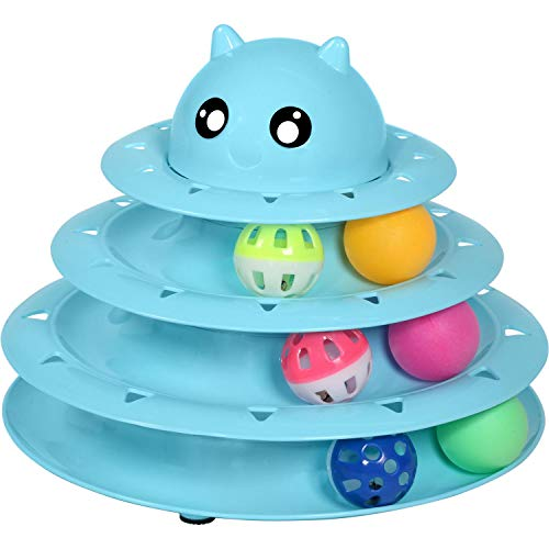 - UPSKY Cat Toy Roller Cat Toys 3 Level Towers Tracks Roller with Three Colorful Ball Interactive Kitten Fun Mental Physical Exercise Puzzle Toys