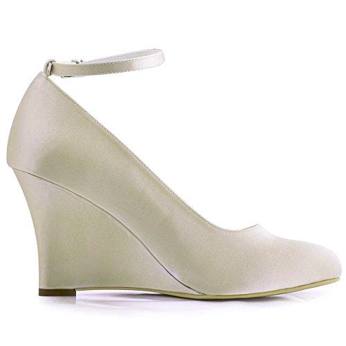Bout Rond Chaussures mariee ElegantPark Champagne Compense Bal A610 Bride de Escarpins Cheville Femme Satin SXSZwIqxU