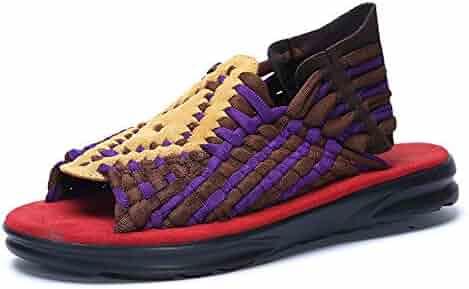 5f1a57895fb eoimofa Summer Men Sandals Fashion Handmade Weaving Design Breathable  Casual Beach Shoes